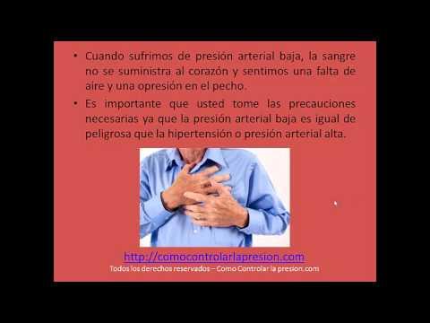 Que es la presion arterial baja y sus sintomas