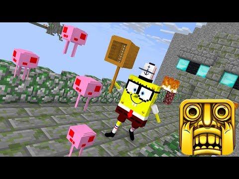 Monster School: TEMPLE RUN (ft. Spongebob) - Minecraft Animation