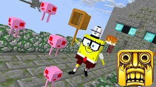 Monster School: TEMPLE RUN (ft. Spongebob) - Minecraft Animation