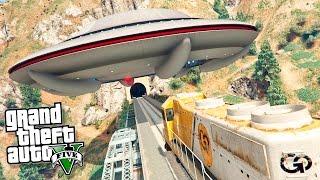Что будет если НЛО остановит поезд в GTA 5? - Эксперимент