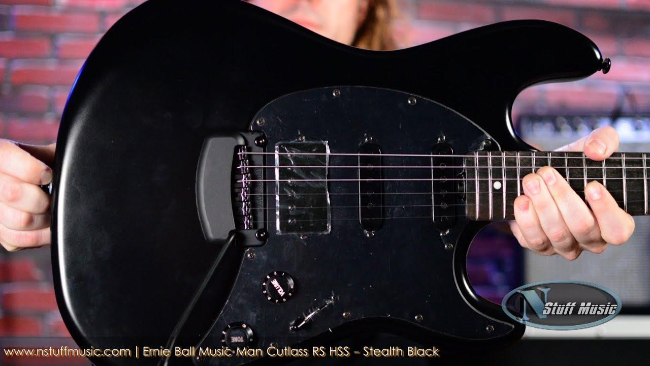 Ernie Ball Music Man Cutlass Rs Hss Stealth Black Youtube