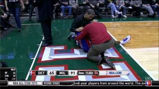 Brandon Jennings Achilles injury: Detroit Pistons at Milwaukee Bucks