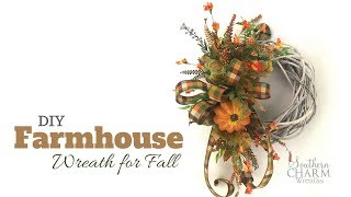 DIY Farmhouse Wreath for Fall | Simple Fall Farmhouse Style Wreath