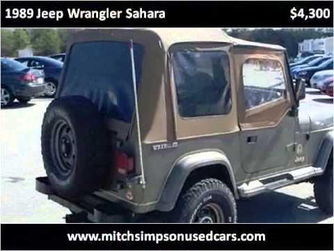 1989 jeep wrangler sahara used cars cleveland ga youtube for Mitch simpson motors cleveland ga