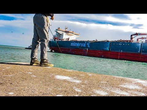 fishing behind giant oil tanker - fishing all day