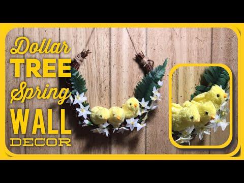 DIY Dollar Tree Spring or Easter Farmhouse Wreath Style Wall Decor - Spring Chicks Room Decor