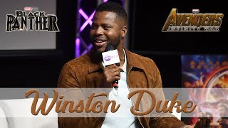 Winston Duke talks relationship status, cast members of Black Panther, and gets proposed to LIVE.
