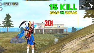 Best Solo vs Squad One Tap 15 Kill OverPower Gameplay Must Watch - Garena Free Fire