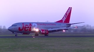 Jet2 B737-300 G-GDFH Landing on Polderbaan @ Schiphol Intl. Airport By Evening