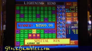 Winner Keno Slot Machine Indian Casino $2560.00 Lightning Gambling Huge Win Video