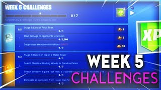 "Fortnite - ALL WEEK 5 CHALLENGES GUIDE! ""Search between a giant rock man, tomato, and a tree"""