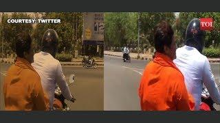 Sadhvi Pragya Singh Thakur campaigns for Lok Sabha elections in a two wheeler
