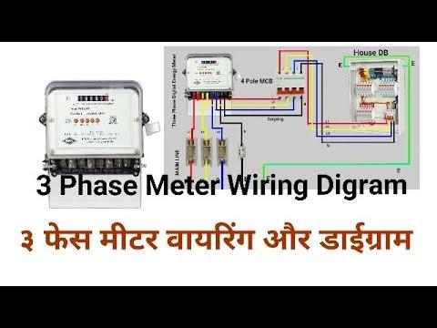 3 Phase Energy Meter Wiring & Digram ३ फेस मीटर वायरिंग और डाईग्राम