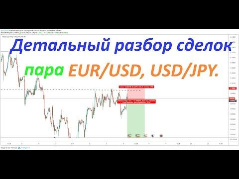 Продажа EUR/USD, покупка USD/JPY. Живая торговля на форексе.