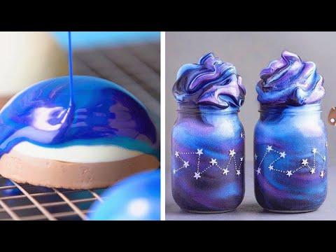 Galaxy Mirror Glaze Cakes Tutorial | Most Satisfying Galaxy Cake Decorating Ideas | Yummy Cookies