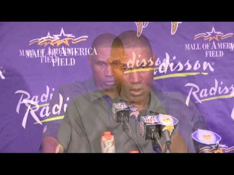 Vikings coach Leslie Frazier talks to reporters about the Vikings