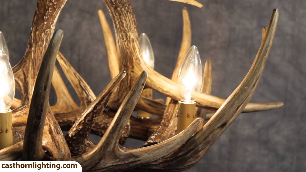 Whitetail Deer 6 Antler Chandelier Cast Horn Designs