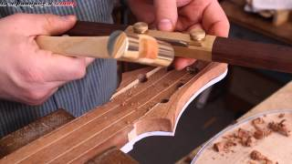 Review and demo of an HNT Gordon boutique spokeshave while carving a guitar neck