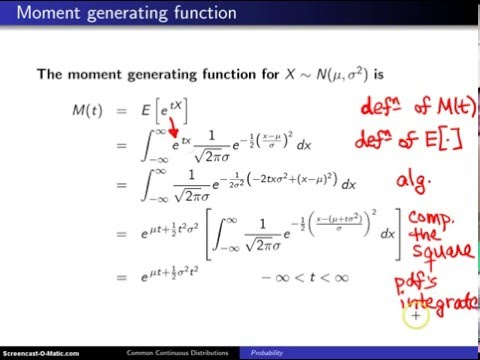 Normal distribution moment generating function