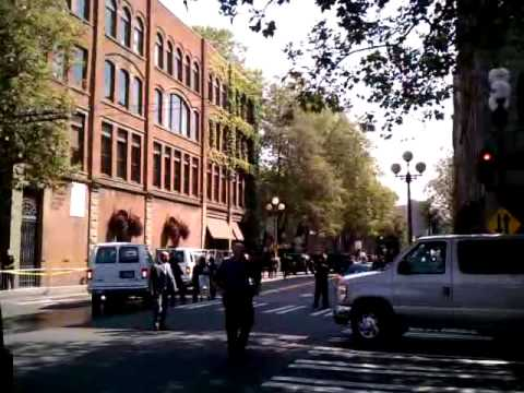 Obama motorcade, Pioneer Square, Seattle, 8/17