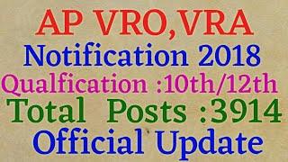 Latest govt jobs 2018    AP VRO,VRA Notification 2018  Official Update on VRO,VRA   Link in Descript