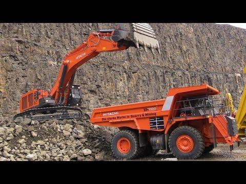 Hitachi Zaxis 870LCH-5 Excavator Loading Hitachi EH1100-5 Mining Truck @ Steinexpo 2014