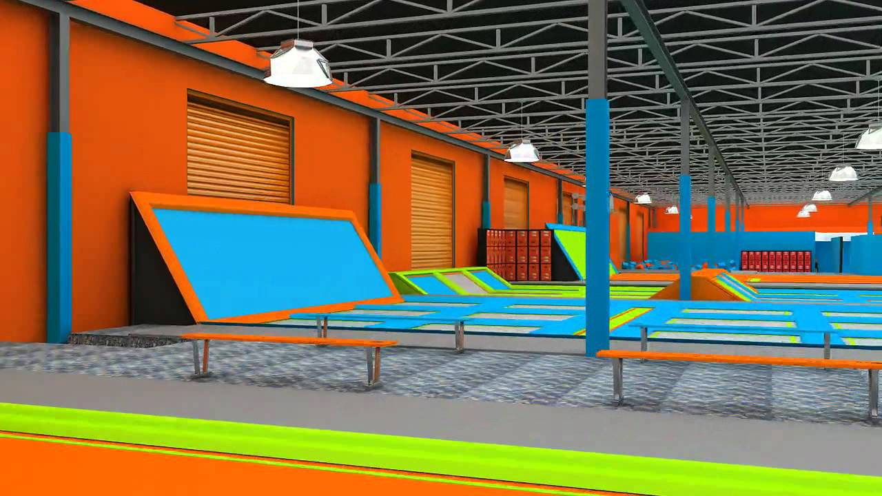3d walkthrough video of air trampoline park in usa youtube. Black Bedroom Furniture Sets. Home Design Ideas