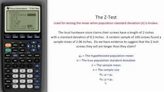 Z-Test - TI Calculator Tutorial