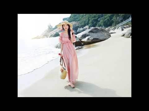 แฟชั่นเที่ยวทะเล : ชุดเดรสยาวเที่ยวทะเลสีส้มโอรส ผ้าชีฟอง