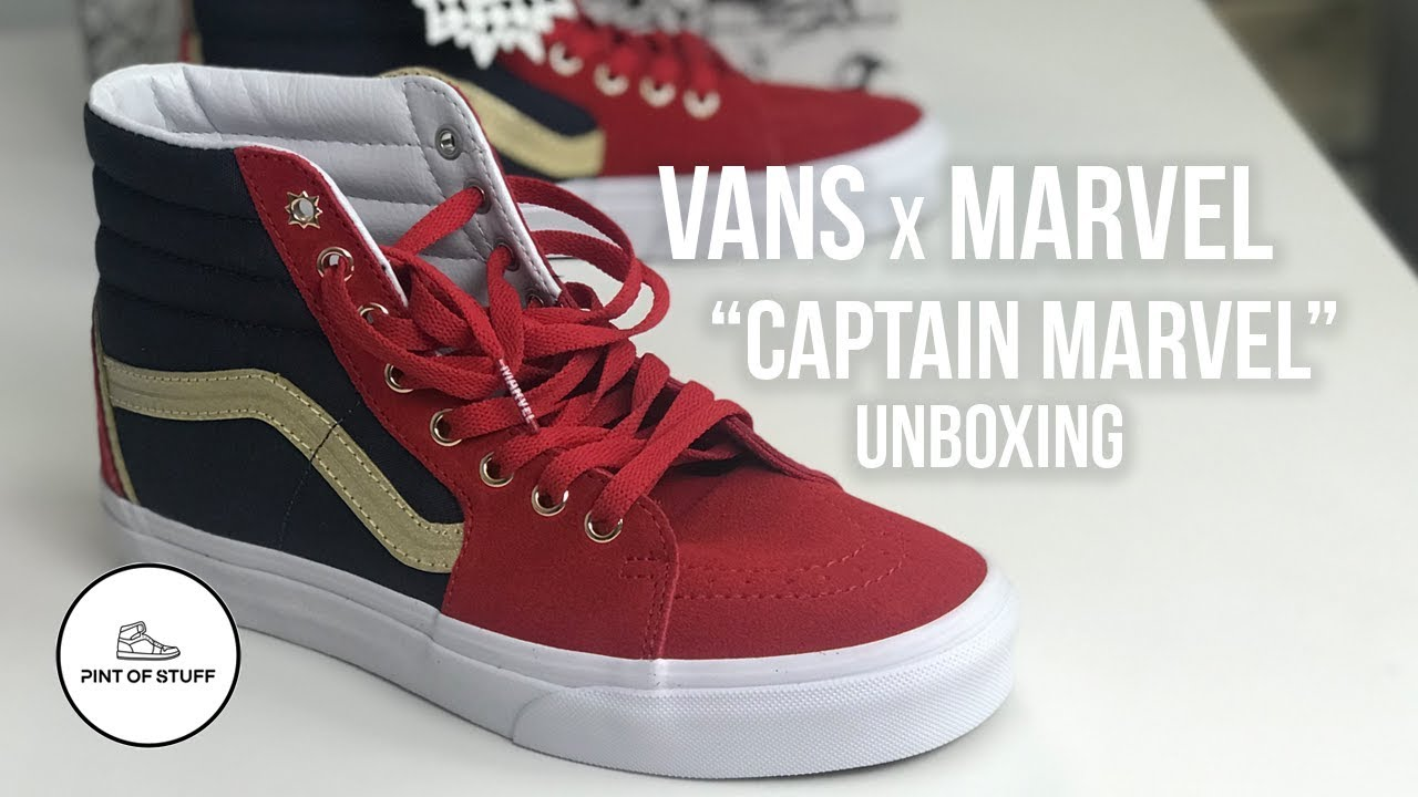976051d34b3a Vans x Marvel SK8-Hi  Captain Marvel  Sneaker Unboxing with SJ - YouTube