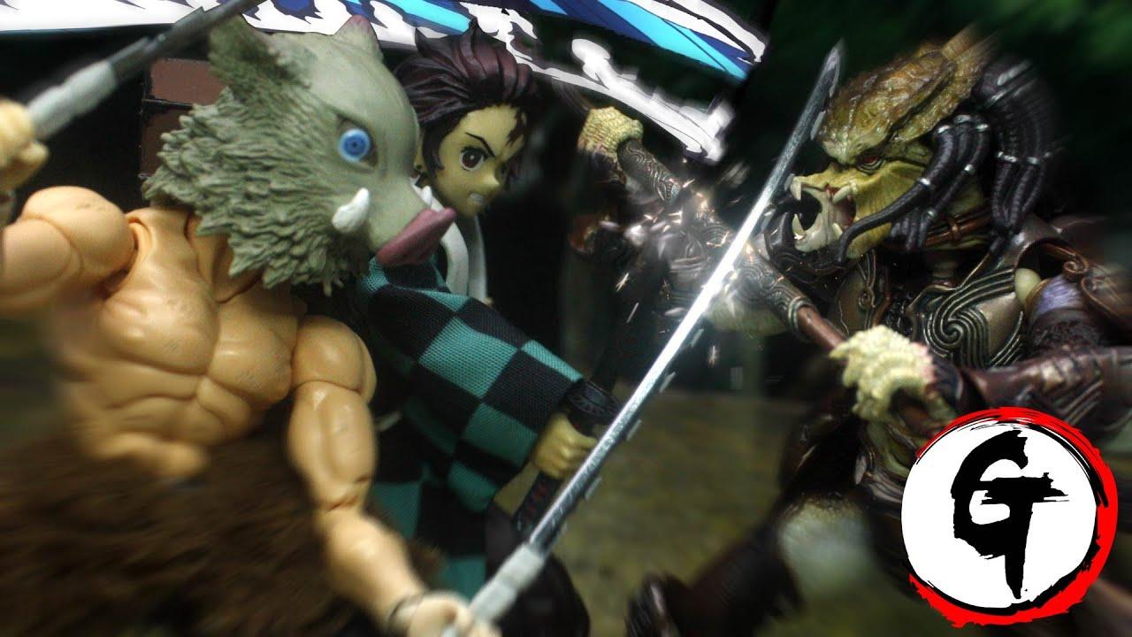 Tanjiro & Inosuke VS Predator -Demon Slayer stop motion竈門炭治郎&嘴平伊之助VSプレデター -鬼滅の刃 ストップモーション