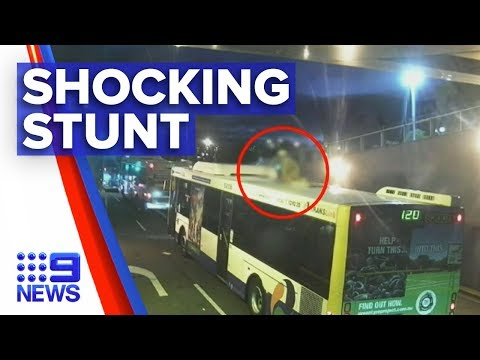 Man Jumps Off Overpass And Onto Brisbane Bus Roof | Nine News Australia
