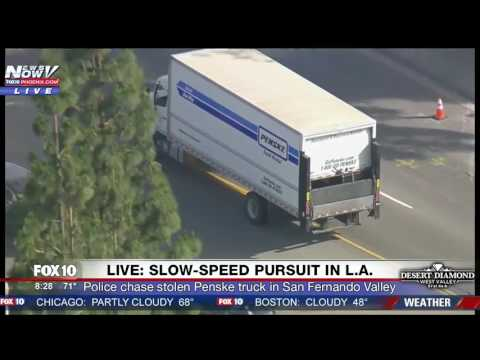 DRAMATIC CHASE ENDING: Police Pursuit STOLEN Penske Semi-Truck In LA/San Fernando Valley (FNN)
