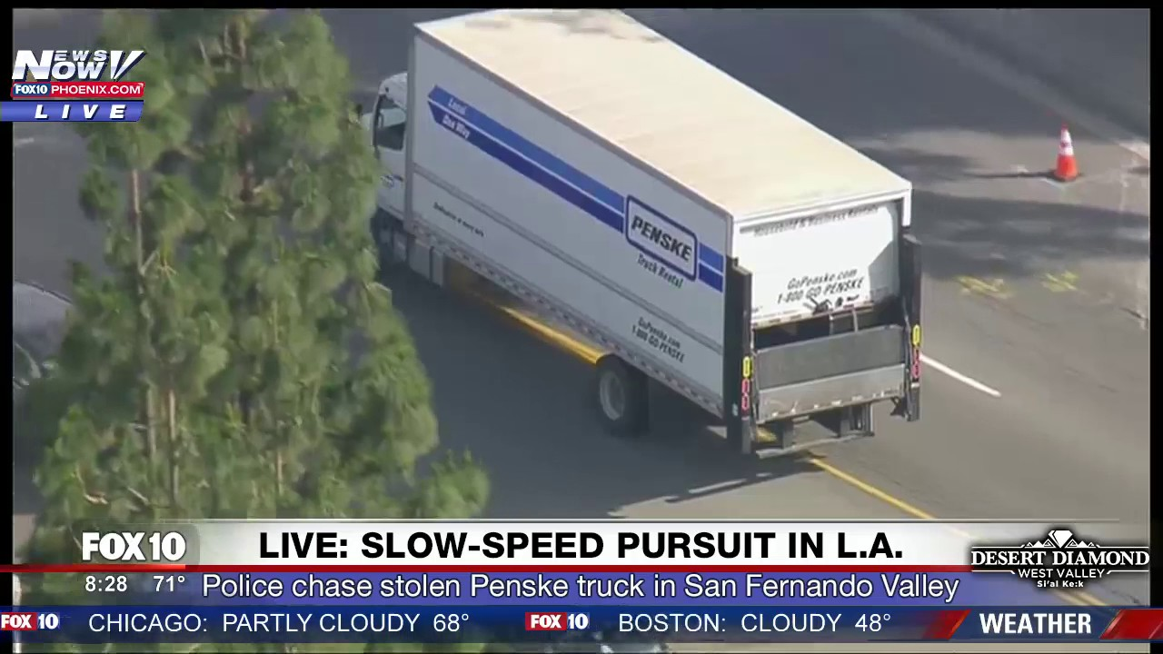 DRAMATIC CHASE ENDING: Police Pursuit STOLEN Penske Semi-Truck in LA