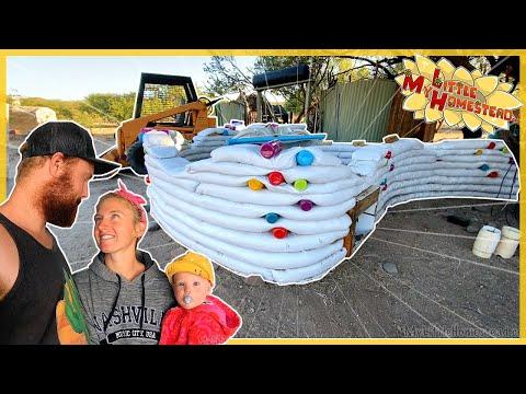 Earthbag Bottle Wave, Soaking Wood Trim, Tractor Moves Engines   Weekly Peek Ep254