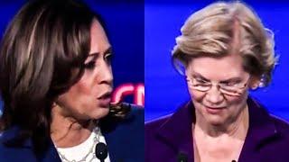 Elizabeth Warren Holds Back Laughter At Kamala's Incompetence