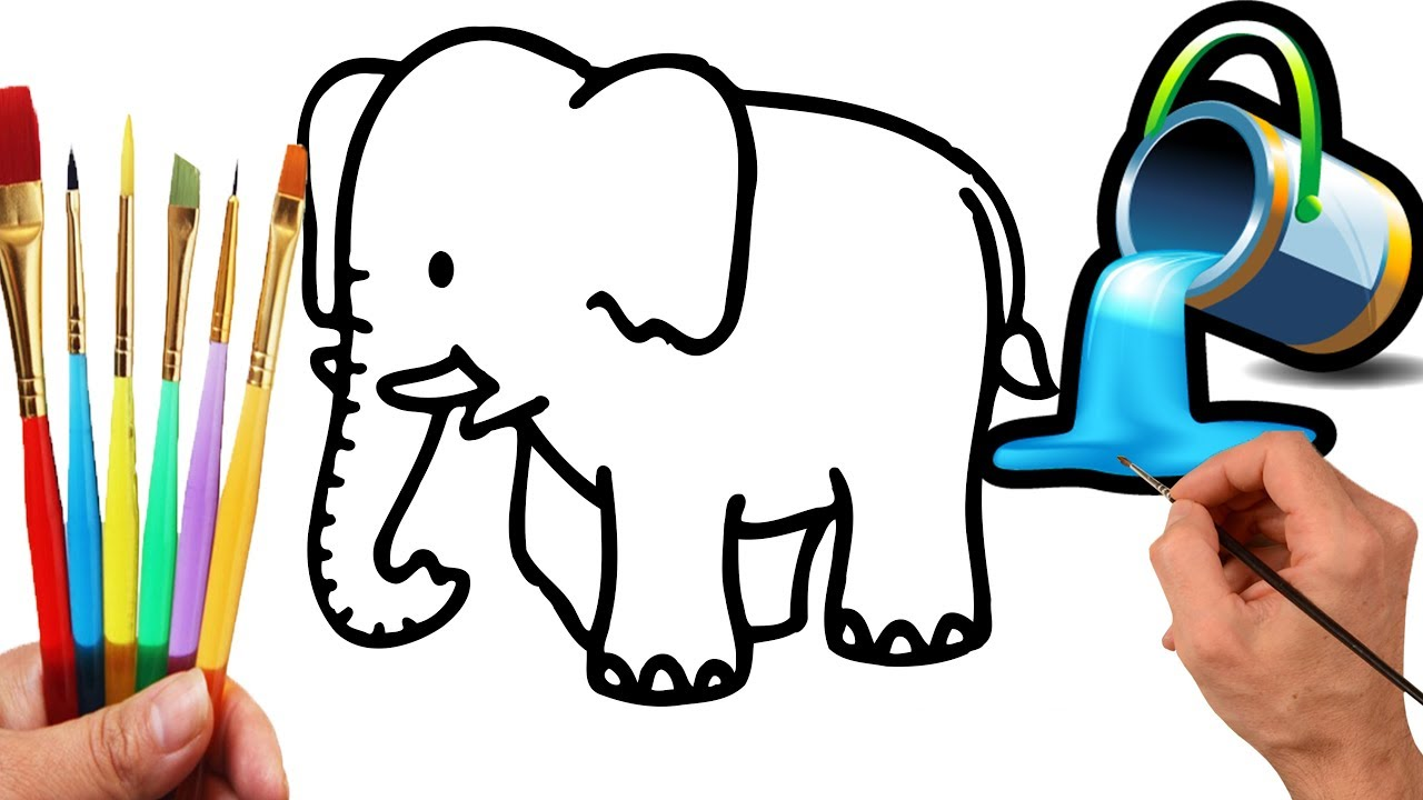 How to draw elephant coloring pages   Elephant Coloring - YouTube