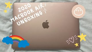 "2020 13"" MacBook Air (rose gold) unboxing + accessories 🤍🥰🤗"