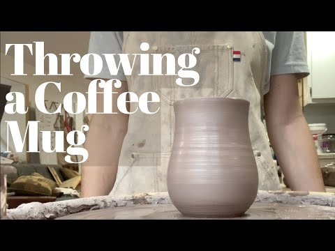 Throwing on the Pottery Wheel for Beginners. A Coffee Mug