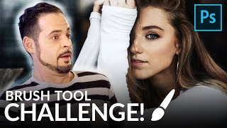 PORTRAIT RETOUCH USING ONLY THE BRUSH TOOL Challenge | Photoshop