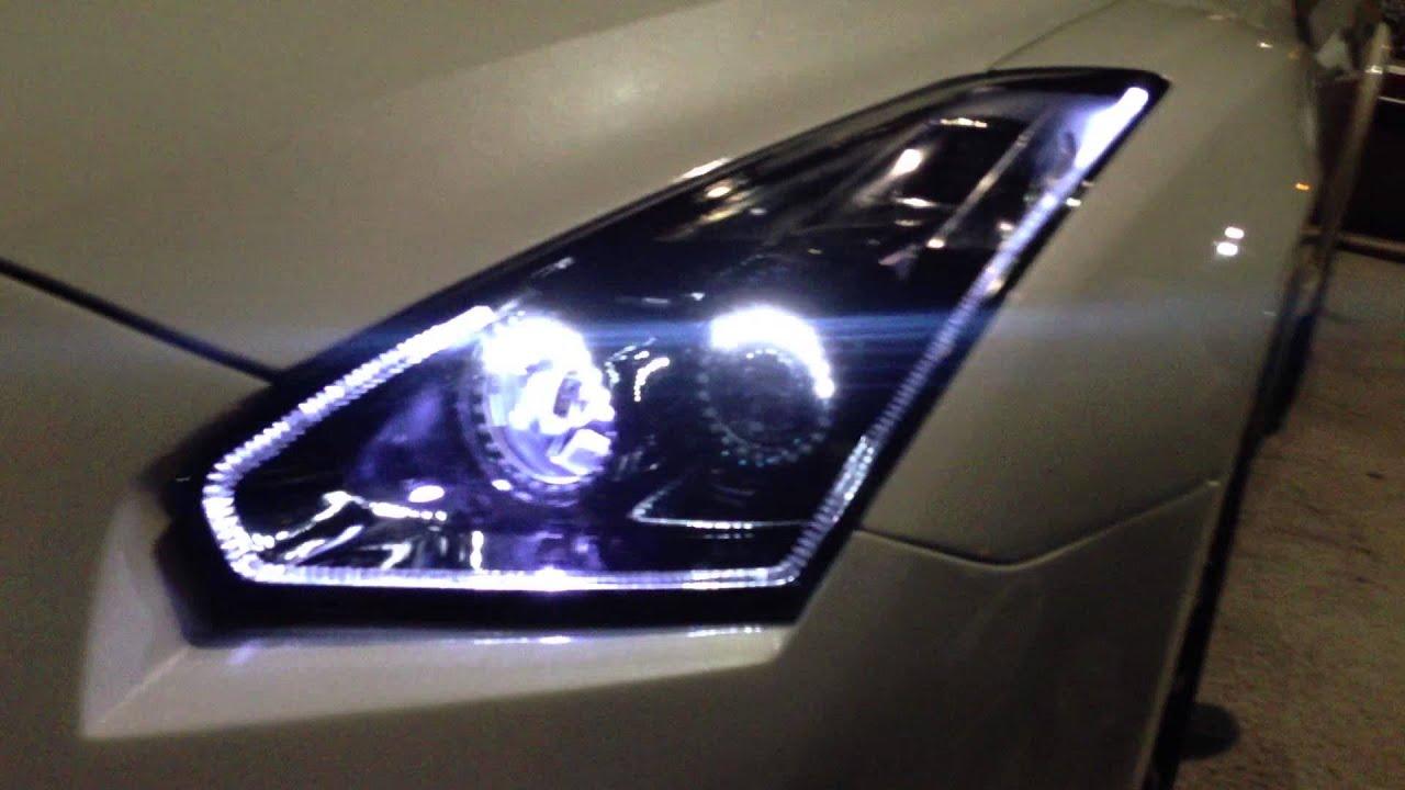 Awesome Custom Led Headlights On Wangan R35 Gt R Youtube