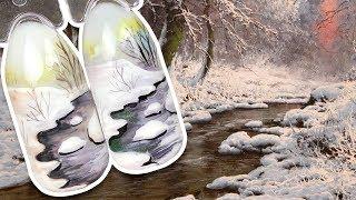 🌲 Зимний Пейзаж с Ручьём в Лесу 🌲 Зимний Дизайн Ногтей Гель-лаком для Зимнего Маникюра Пошаговый МК