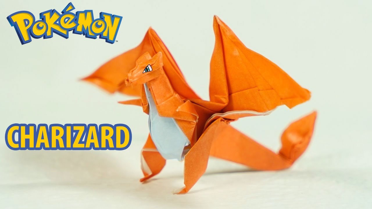 Paper Pokemon - Origami Charizard Tutorial - Intermediate version (Henry on