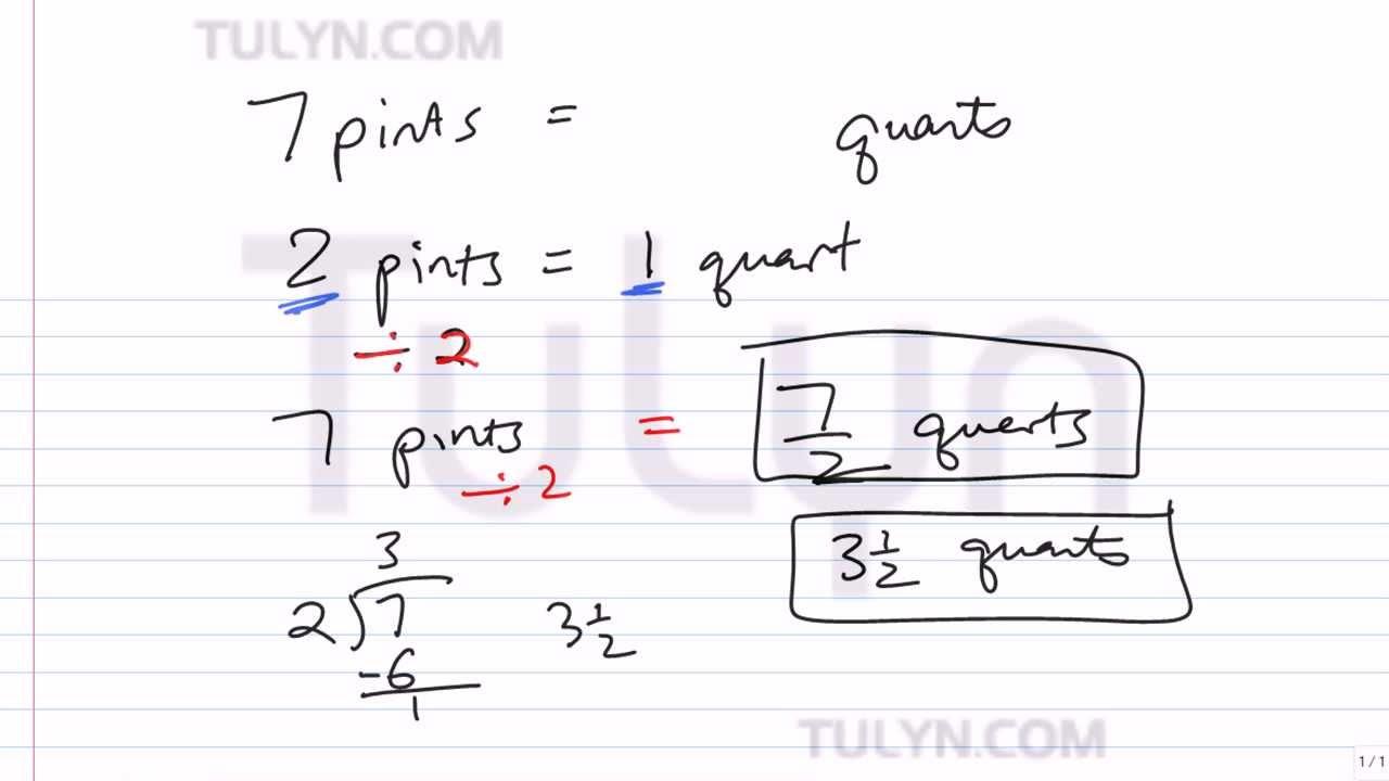 Worksheet Convert 1 Pint To Quarts conversion of customary units converting pints to quarts youtube quarts
