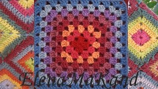 Бабушкин квадрат. Добавление нити другого цвета.Granny square. Adding another color thread