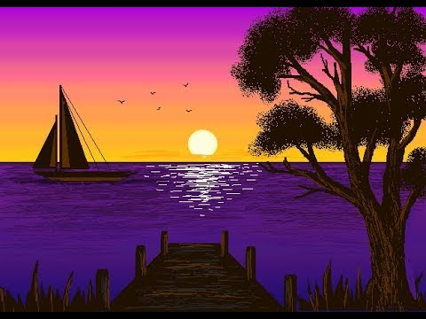How To Draw A Beautiful Sunset With Gradient Effect In MS Paint - Easy Method