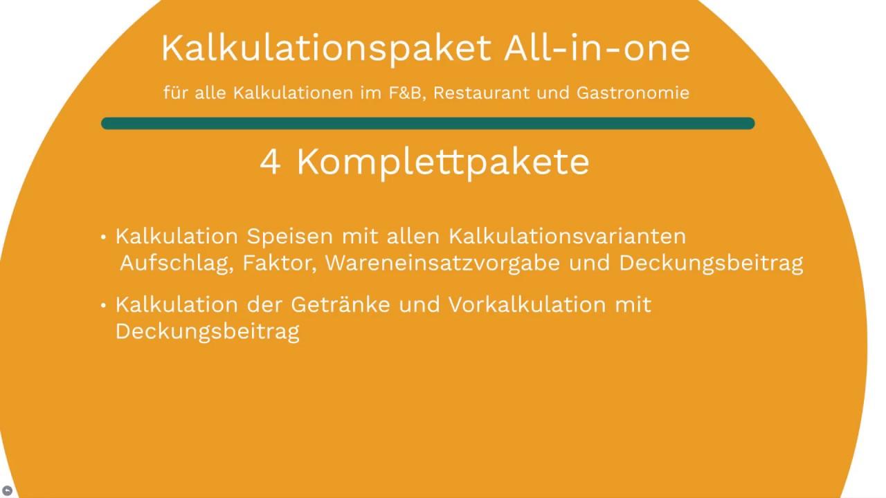 Kalkulationspaket All-in-one für alle Kalkulationen in der ...