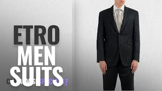 Top 10 Etro Men Suits [Winter 2018 ]: ETRO 100% Wool Gray Striped Two Button Men
