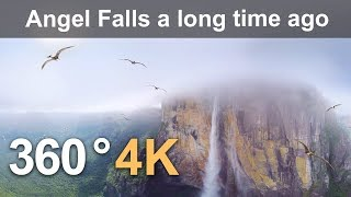 360 video, Angel Falls millions of years ago. 4K aerial video