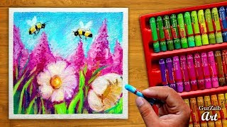 Oil pastels painting on canvas || flowers and honey bees drawing tutorial of nature